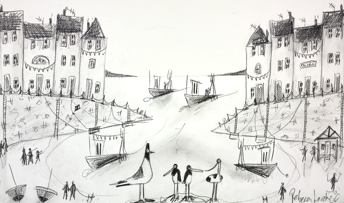 Busy Harbour Sketch I by rebecca lardner -  sized 20x12 inches. Available from Whitewall Galleries